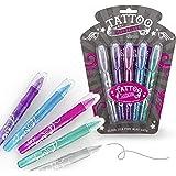 Juego de bolígrafos de gel para tatuajes, 5 colores brillantes, incluye plantilla, tatuajes infantiles, regalo para cumpleaño
