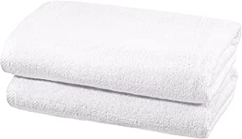 AmazonBasics Quick Dry Cotton Towel Set, 2 Bath - White