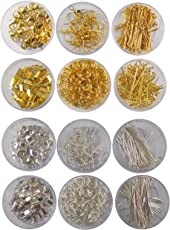 eshoppee Jewellery Making Material, Fitting kit Includes Lobster Claps, Jump Ring, keel, kunda, Earring, Necklace end Locking, chhalle,Ring, etc. (Silver Gold)