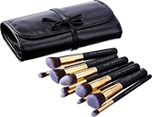 Amazon Brand - Solimo Makeup Brush Set, 10 Pieces with PU Leather Case