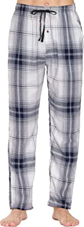 AjezMax Men's Pyjama Bottoms 100% Cotton Classic Checked Trousers Soft Comfy Lounge Pants Loungewear Sleepwear