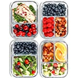 Glass Meal Prep Containers 2 & 3 Compartment (4 Pack, 1000 ML) - Glass Food Storage Containers with Lids, Glass Lunch Box, Gl