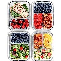 Boîte à repas avec 2 & 3 Compartiments en verre [4 Packs, 950 ML] - Contenants de stockage des aliments avec couvercles…
