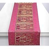 Stylo Culture Table Basse Indienne Chemin de Table Magenta Or Paon Floral Brocart Jacquard Rectangle Décor à la Maison Ethniq