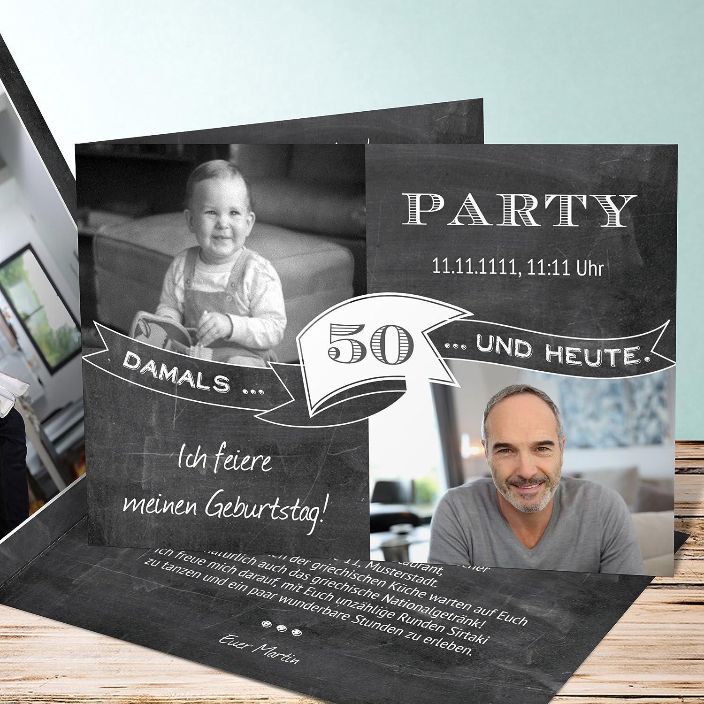 Einladungskarten Zum 50 Geburtstag Vorlagen, Jahrestafel 50 10 Karten,  Horizontale Klappkarte 210x100 Inkl. Weiße Umschläge, Grau: Amazon.de:  Küche U0026 ...