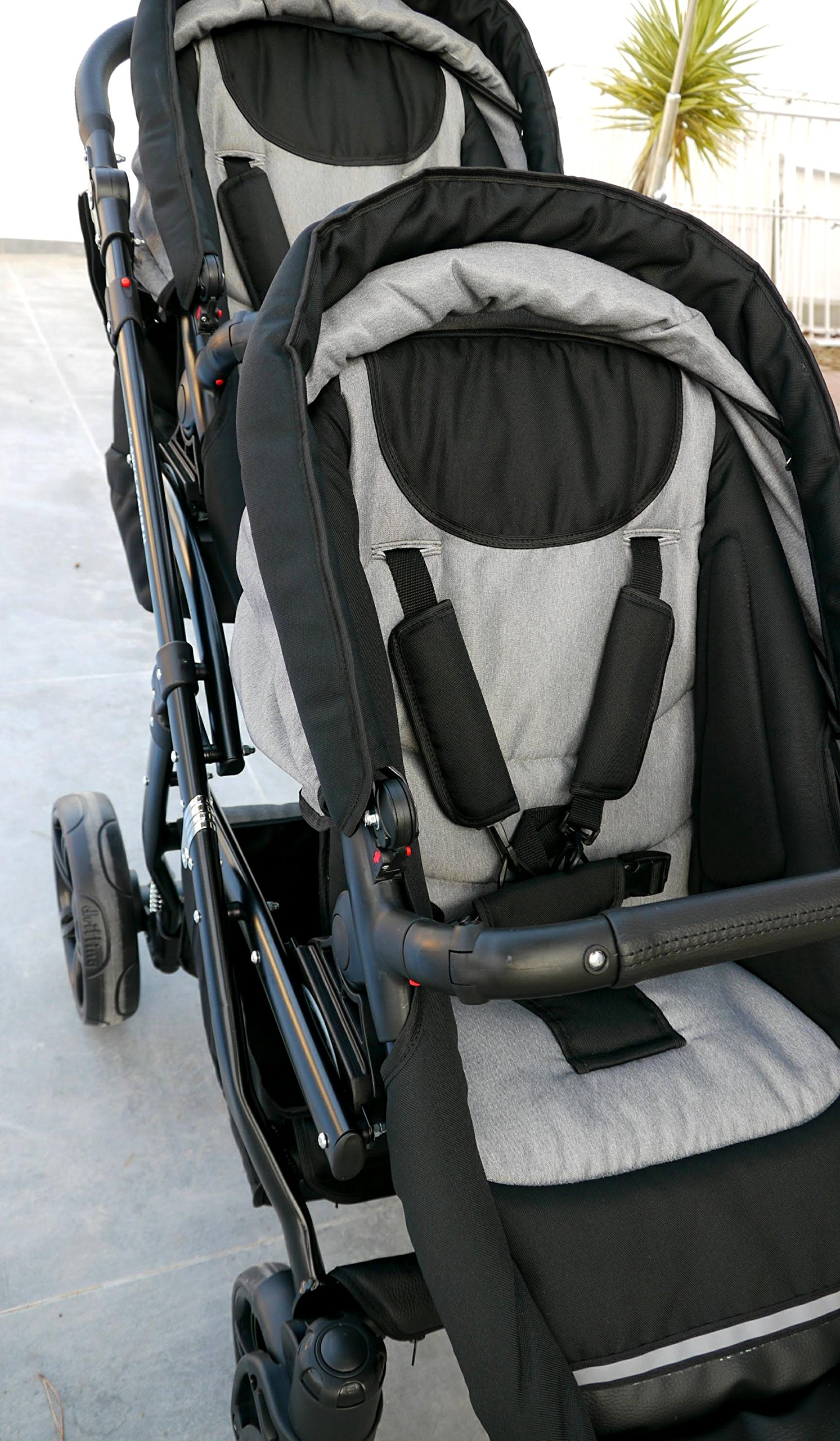Double pram for twins. 2 carrycots + 2 buggies + 2 car seats. Grey. BBtwin Berber Carlo Directly from the factory, warranty and advice. Made un the EU according to the regulations EN1888 and ECE44/04. Colour grey. Includes 2 carrycots, 2 buggy seats, 2 car seats, bag, 2 footcovers, 2 rain covers, 2 mosquito nets, lower basket. Features: lightweight aluminium frame, easy bending, adjustable handlebar, central brake, lockable front swivel wheels, shock absorbers, each buggy can be instaled independently in both directions, carrycots with a mattress and a washable cover, backrest adjustable in various positions, safety bar and harness of 5 points 8