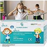50 Masques MADE IN ITALY Pour Enfants Avec Certifications CE et Scellé en 5 Paquets de 10 Pièces (Blanc)
