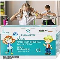 50 Kindermasken, hergestellt in Italien, CE-zertifiziert, versiegelt, in 5 Packungen mit 10 Stück (weiß)