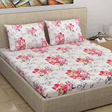 Divine Casa Millennial 180 TC Cotton Double Bedsheet with 2 Pillow Covers