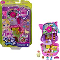 Polly Pocket Coffret Univers Ferme de Cochonnet, mini-figurines Polly, une amie, un alpaga et une chèvre, surprises…