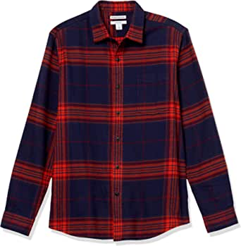 Amazon Essentials Men's Standard Slim-Fit Long-Sleeve Plaid Flannel Shirt