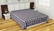 Indhira 300 TC Handloom Cotton Double Bedsheet - Brown