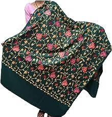 Varun Cloth House Women's Woollen Kashmiri Aari Zaal Embroided Shawl (vch3928, Green)