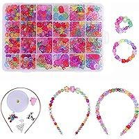 Perles pour Enfants,DIY Perles Plastique Coloré 24 Compartiments Kit De Loisirs Créatifs L'atelier De Bijoux Fabrication…