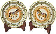 eCraftIndia Horse Etched Decorative Plates (Set of 2) (6 in, Yellow,Red)