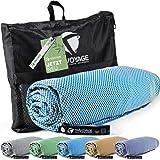 Travoyage ® Mikrofaser Strandtuch mit Taschen für Liege hellblau 70x180 cm | Mikrofaser Handtuch Bambus schnelltrocknend leic