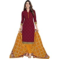 Miraan Cotton Printed Readymade Salwar Suit For Women(MIRAANSGPRI1804, Brown)