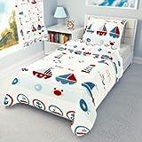 Nautical Boys Girls Duvet Cover + Pillowcase 120 cm x 150 cm cot Bed/Toddler Bedding Set Sailing Boats 100% Cotton…