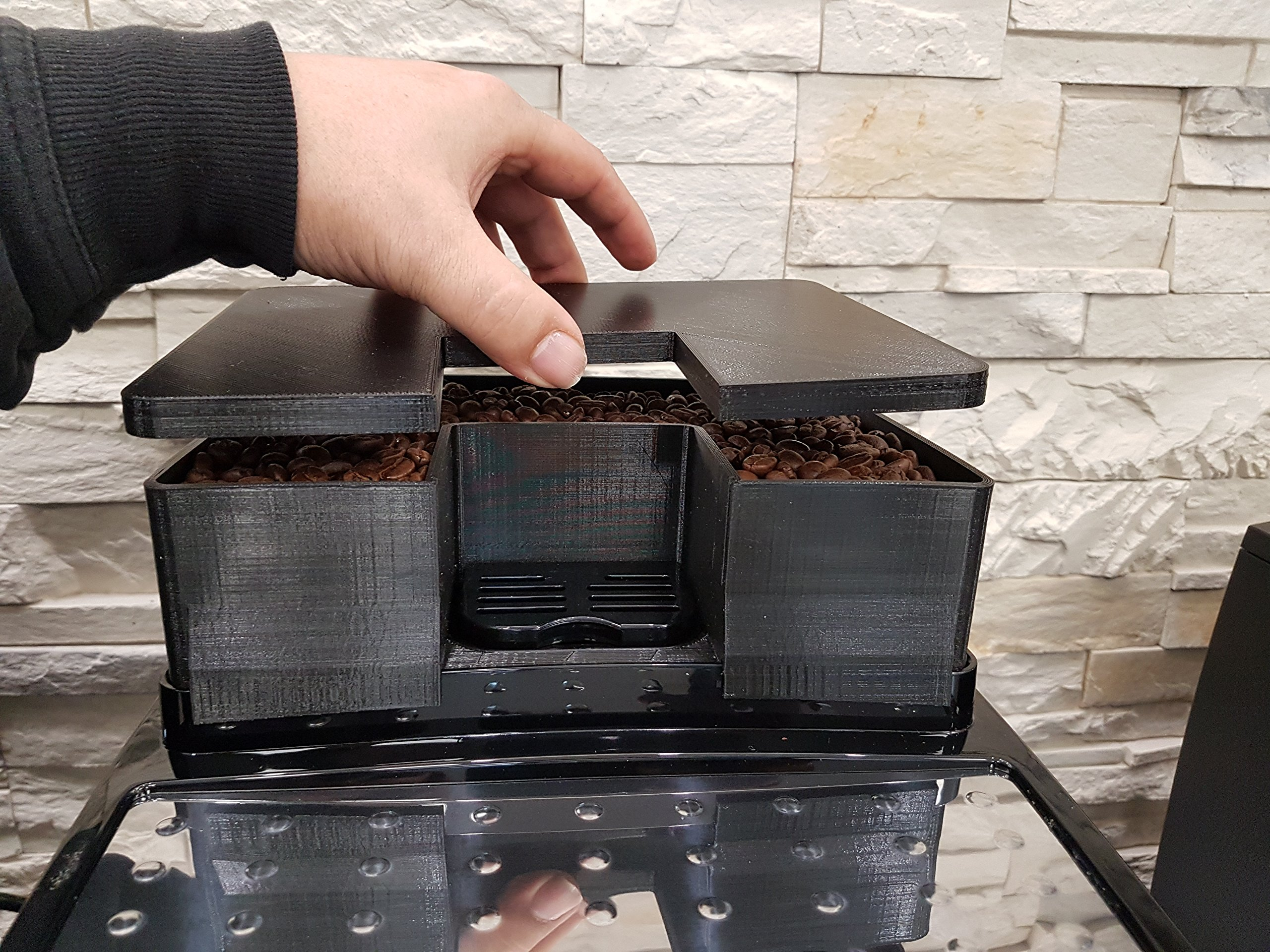 Bohnenbehlter-Erweiterung-fr-400-gr-mehr-Bohnenkapazitt-passend-fr-DeLonghi-Magnifica-S-Kaffeeevollautomaten