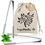 YogaMedic® Tongue Scraper [2pc] 100% Stainless Steel - Best Anti-Microbial Material - 1 Cotton Bag, 2 Cleaners