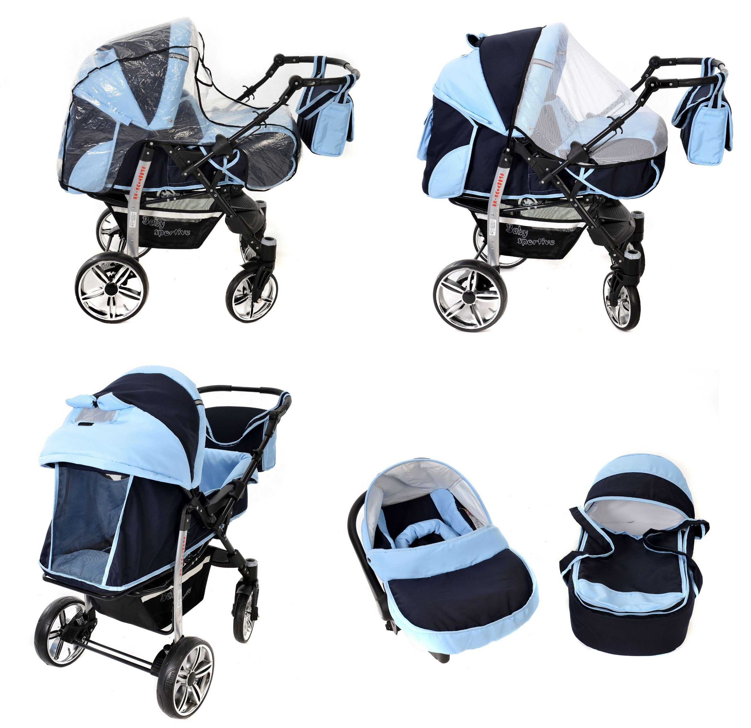 Sportive X2, 3-in-1 Travel System incl. Baby Pram with Swivel Wheels, Car Seat, Pushchair & Accessories (3-in-1 Travel System, Navy-Blue & Blue)  3 in 1 Travel System All in One Set - Pram, Car Carrier Seat and Sport Buggy + Accessories: carrier bag, rain protection, mosquito net, changing mat, removable bottle holder and removable tray for your child's bits and pieces Suitable from birth, Easy Quick Folding System; Large storage basket; Turnable handle bar that allows to face or rear the drive direction; Quick release rear wheels for easy cleaning after muddy walks Front lockable 360o swivel wheels for manoeuvrability , Small sized when folded, fits into many small car trunks, Carry-cot with a removable hood, Reflective elements for better visibility 7