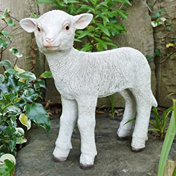 Garden Home Ornament Statue Full Size /& Small White Resin Sheep Ram Metal