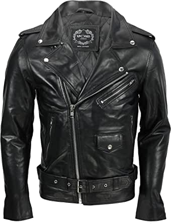 Mens Waxed Soft Real Leather Black Biker Jacket Vintage Classic Motorcycle Rider Style