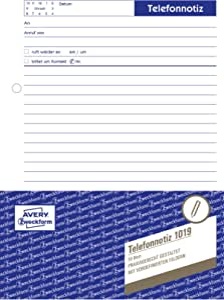 Avery Zweckform 1019 Telefonnotiz A5 Abreißblock Oben Verleimt 50 Blatt