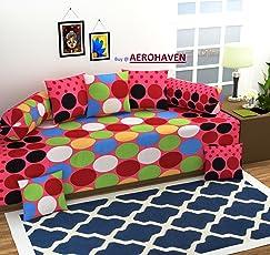 AEROHAVEN 3D Luxury 180 TC Designer Printed 8Pc Diwan Set(1 Single Bedsheet, 2 Bolster Covers, 5 Cushion Covers)