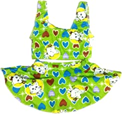 Kids Girls Swim 2 Piece Suit Green Cat Heart Cartoon Print (Swimming Costume Swimwear & Beach Wear)
