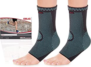 OBLIQ Ankle Brace Foot Compression Sleeve Supports for Joint Pain, Plantar Fasciitis Foot Socks with Arch Support, Eases Swelling, Heel Spurs, Achilles Tendon (1 Pair) (Blue, Large(13.5-14.5 Inches))