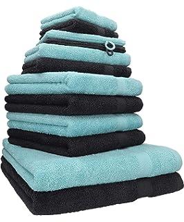 Betz 12tlg Handtuch Set PALERMO Handtücher 50x100cm 100/% Baumwolle rosé /& weiß