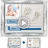 A&M Italia Cornice Impronte Neonato Effetto Shabby - Multi Configurazioni PortaBracciale Nome e Foto