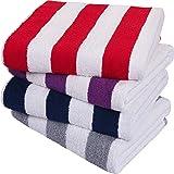 Utopia Towels-Toallas de Playa a Rayas Cabana, (76 x 152 cm) - Toallas de Piscina Grandes de algodón 100% Hilado en Anillos,