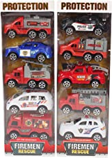 Planet of Toys Kid's Pullback Fire Engine Cars (POTPOT0028-F11FIREENGINESET) - Set of 10
