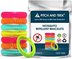 Pitch and Trek® - Mosquito Repellent Bracelet 10 PACK - Fits All - Citronella All Natural DEET Free Anti Insect Bands -...