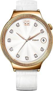 Huawei Lady Gioiello Swarovski Smartwatch, Cinturino in Pelle, Quadrante Acciaio, Bianco/Oro