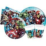 Ciao- Kit Mesa Fiesta Party Marvel Avengers Mighty para 24 personas (112 piezas: 24 platos de papel Ø23cm, 24 platos de papel