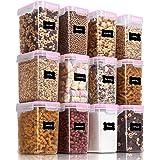 Vtopmart 1.6L boîtes de Conservation Alimentaire sans BPA de Nourriture en Plastique avec Couvercle,Ensemble De 12+24 Étiquet