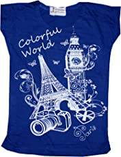 TrendiGo Fashion Girls Cotton Printed Half Sleeve T-Shirt (Pack of 1) Dark Blue