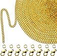 33 Piedi Oro Collana con Catena a Maglia Placcata con 30 Pezzi Anelli di Salto e 20 Pezzi Chiusure di Aragosta per Uomini e Donne Catena di Gioielli Fai Da Te (1.5 mm)