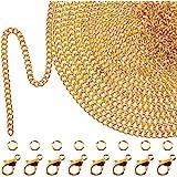 تيكونيت 33 قدم مطلية بالذهب سلسلة ربط قلادة مع 30 حلقة القفز و 20 مشبك جراد البحر للرجال النساء سلسلة مجوهرات صناعة يدوية (1.