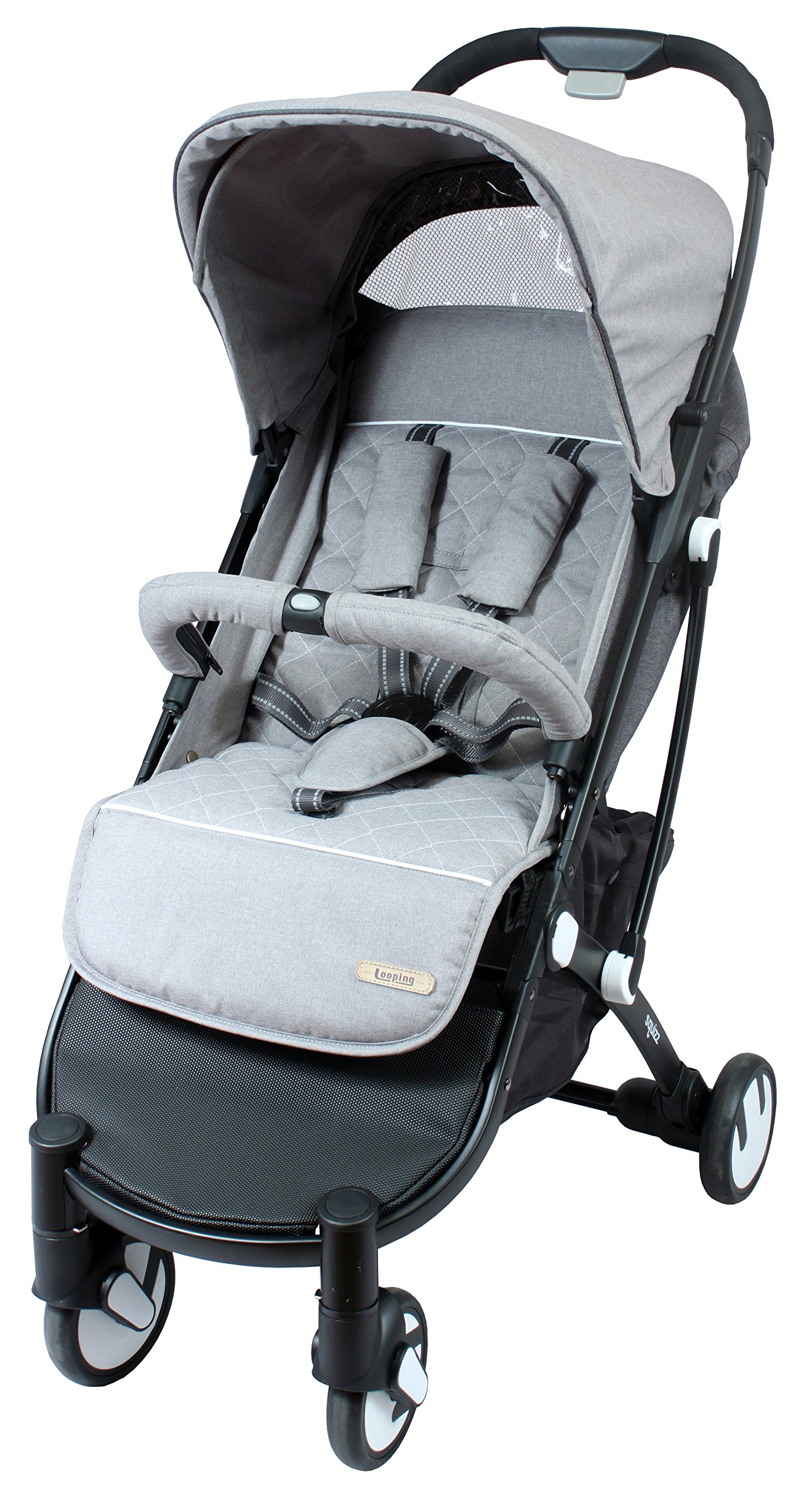 LOOPING Poussette compacte Squizz 2 Z15 - Gris chiné Looping Very compact babies's pushchair from birth up to 15kg. Smart pull-along handle that enables you to pull the pushchair. Folds up and unfolds with one hand. Large canopy to better protect your baby- Removable and opening bumper bar to keep your baby in place. 4