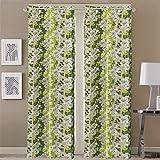 Queenzliving Garden County Curtain, Long Door 9 feet- Pack of 2, Green