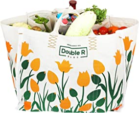 Double R Large Heavy Duty Waterproof Shopping Bags Kitchen Essentials/Grocery Bag/Vegetable Bag/jhola / Carry Bag/thela with Full Handles Best Gift for Diwali Festival (18x11x14.50) (Large)