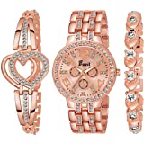 Frozil Analogue Diamond Rosegold Dial Watch with 2 Bracelet for Women Or Girls and Watch for Girl or Women (Combo of 3)