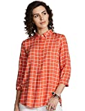 Amazon Brand - Myx Women's Checkered Regular Fit 3/4 Sleeve Shirt
