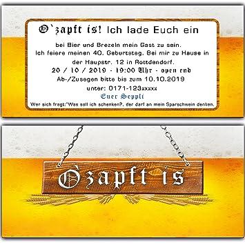 Originelle U0026 Lustige Einladungskarten Zum Geburtstag ( 30 Stück) Bier  Oktoberfest Einladung Bayern Karten O Zapt Is Hüttengaudi Bayrisch:  Amazon.de: ...