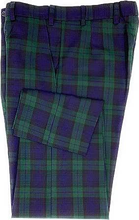 Pantaloni da golf da uomo in tartan, colore: nero