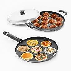 Sumeet Aluminium 7-Piece Multi Snack Maker and 12-Piece Grill Appam Patra, Silver